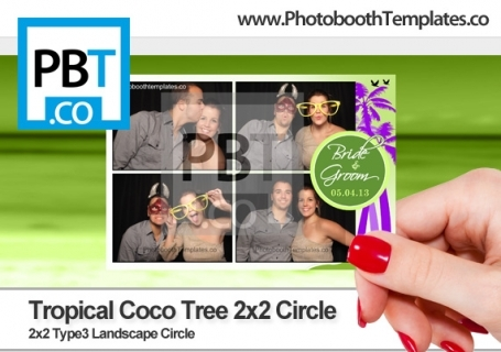 Tropical Coco Tree 2x2 Circle